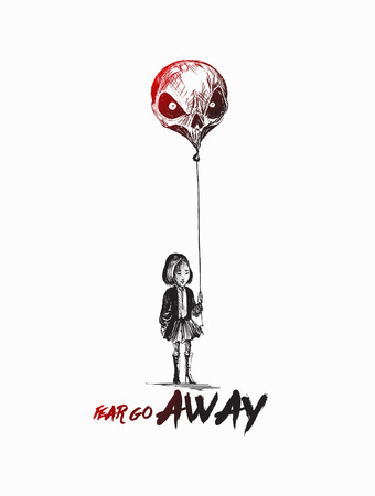 Little girl with Skull shape balloons with text of Fear go Away. Illustration