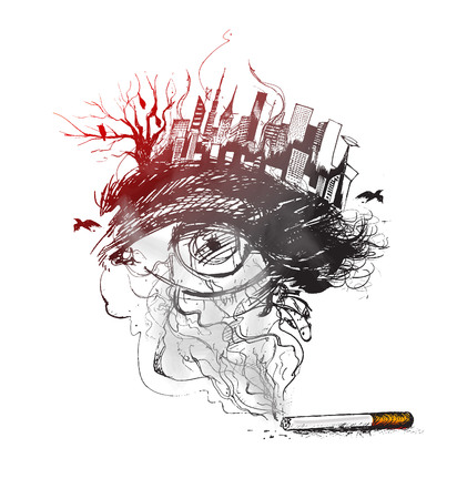eyes looking down: Burning cigarette as a pollution city design with deadly smoke symbolizing that Quit Smoking or start living.