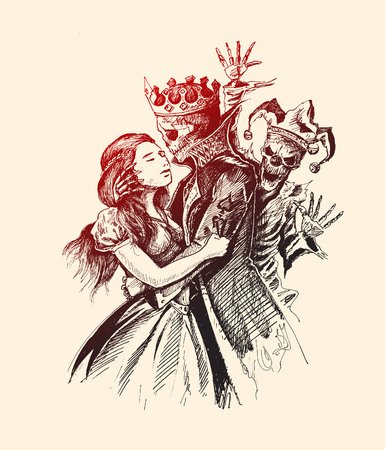 Beast prince and girl, Hand Drawn Sketch Vector illustration.