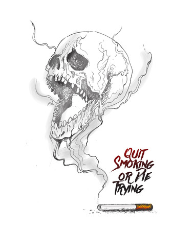 Quit smoking - no smoking start living. Hand Drawn Sketch Vector
