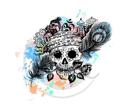 Head of men with rose peacock feather temple for black magic skull design. Pirate skull  corsair logo. Illustration