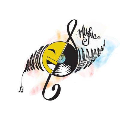 Abstract musical background. Vinyl disk with music note.