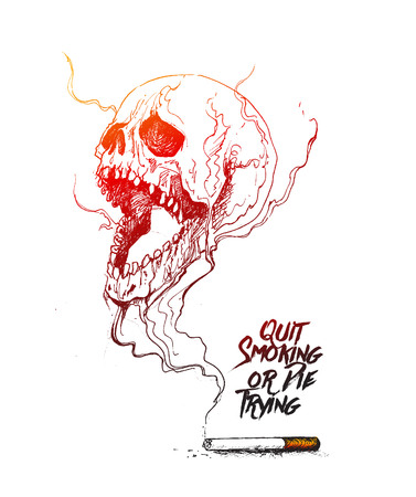 dram: Burning cigarette as a skull shaped design with deadly smoke symbolizing that Quit Smoking or Die Trying. Vector Illustration isolated on White Background.