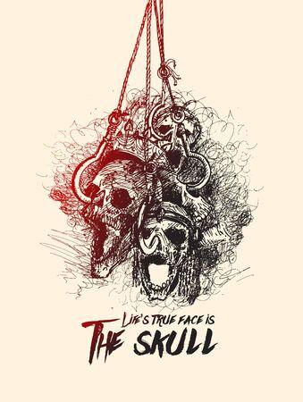Halloween Background - Hanging skulls for Greeting Card Design vector illustration.