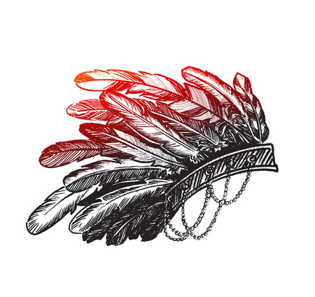 Stunning Crown of feathers- Native american indian chief headdress. Illustration
