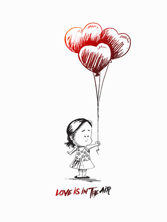 lonely person: Little girl with heart shape balloons, Hand Drawn Sketch Vector. Illustration