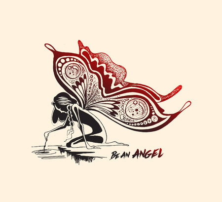 Angel with butterfly wings, Hand Drawn Sketch Vector illustration.