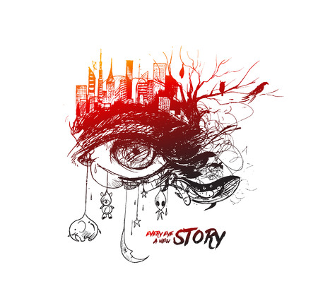 Abstract exposure sketch of an eye with urban city, Hand Drawn Sketch Vector illustration.