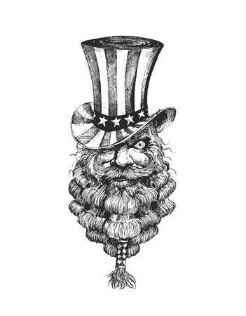 4th of July celebration hat on bearded king head, Hand Drawn Sketch Vector Background.