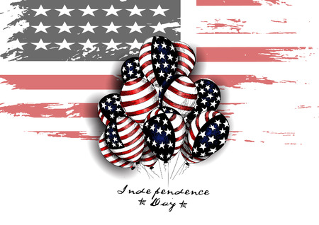 USA grunge flag with balloons for 4th July Illustration