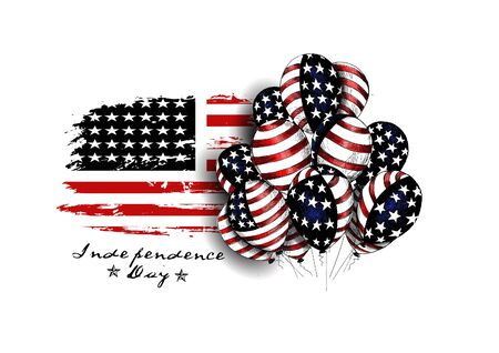 USA grunge flag with balloons for 4th july - Hand Drawn Sketch, Vector Background.