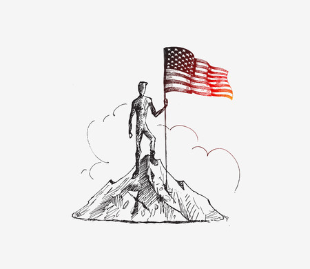 mountaineering: Climber with Usa flag conquering top of mountain. Hand Drawn Sketch Vector Background. Illustration
