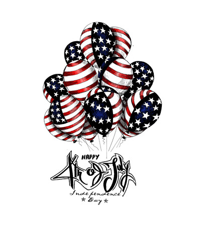 4th of July - American Independence Day, Hand Drawn Sketch Vector illustration.