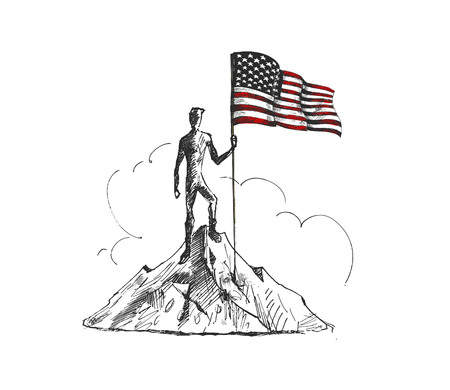 Climber with Usa flag conquering top of mountain. Hand Drawn Sketch Vector Background. Illustration