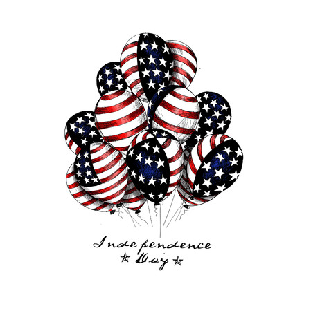 4th of July - American Independence Day balloon, Hand Drawn Sketch Vector illustration.