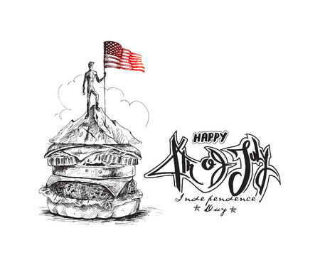 Hunger man climber with Usa flag conquering top of mountain - 4th July. Hand Drawn Vector Background.