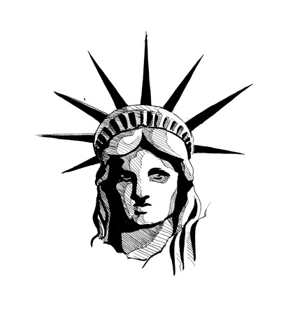 Statue of freedom, Hand Drawn Sketch Vector Background.