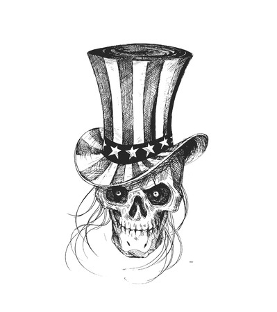 Skull with American Hat July 4th, Hand Drawn Sketch Vector illustration. Illustration