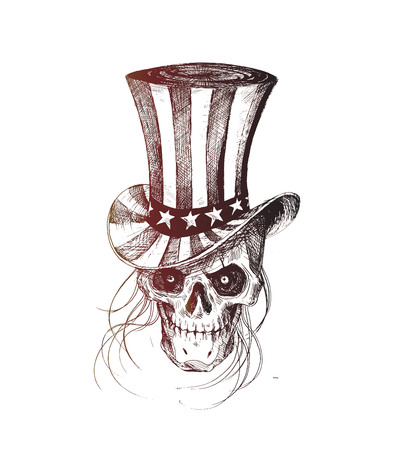 death s head: Skull with American Hat July 4th, Hand Drawn Sketch Vector illustration. Illustration