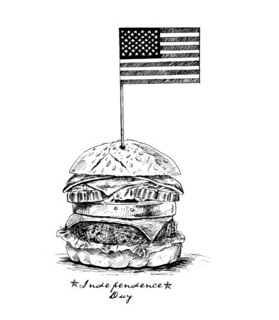 Usa flag top of burger- 4th July. Hand Drawn Vector Background.