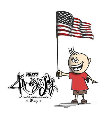 Man with flag for 4th july, Cartoon Hand Drawn Sketch Vector illustration.