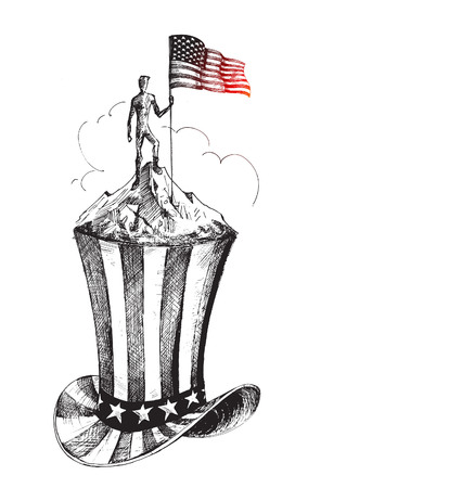4th of July celebration hat icon, Hand Drawn Sketch Vector Background.