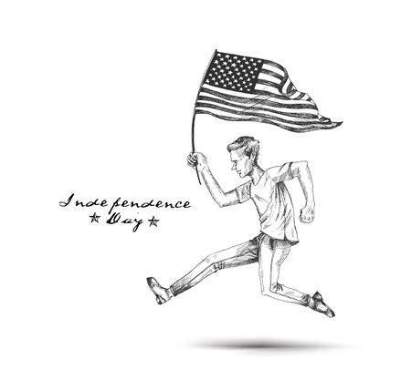Man with the American flag running towards the dream, Hand Drawn Vector Background.