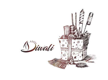 Diwali crackers for Diwali gift, Hand Drawn Sketch Vector . Illustration