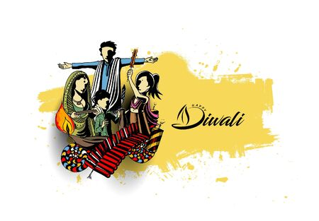 fire crackers: Happy Diwali creative flyer for Diwali festival. Vector illustration. Illustration