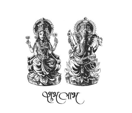 Dios hindú Laxmi Ganesh en el festival de Diwali, dibujado a mano Sketch Vector. Vectores