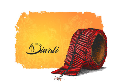 Diwali crackers, Hand Drawn Sketch Vector illustration.