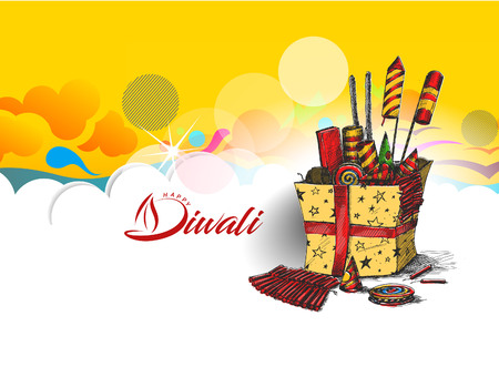 Diwali crackers for Diwali gift, Hand Drawn Sketch Vector . Illustration