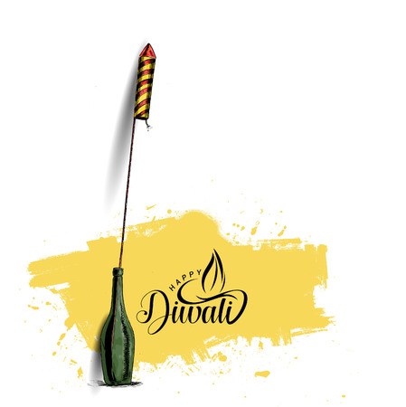Rocket firecrackers in a pot Happy Diwali - Hand Drawn Sketch, Vector Background. Illustration
