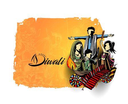 Happy Diwali creative flyer for Diwali festival. Vector illustration. Illustration