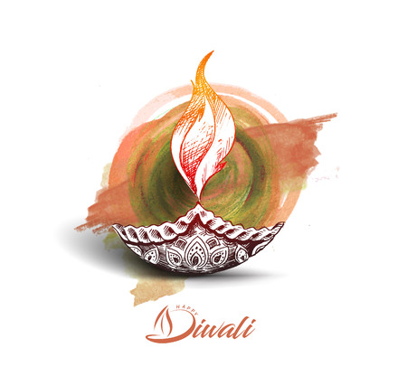 Diwali festival Oil lamp - diya, Hand Drawn Sketch Vector . Illustration