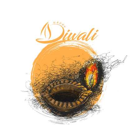 Oil lamp - diya, Diwali festival, Hand Drawn Sketch Vector .