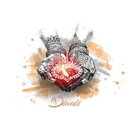 Hand holding Indian oil lamp - diya, Diwali festival, Hand Drawn Sketch Vector. Illustration