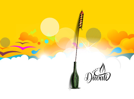 Rocket firecrackers in a pot Happy Diwali - Hand Drawn Sketch, Vector Background. Illustration