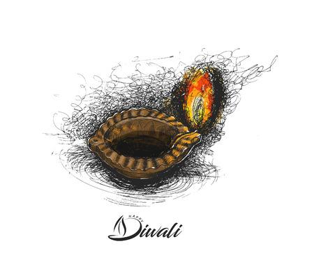 Oil lamp - diya, Diwali festival, Hand Drawn Sketch Vector .