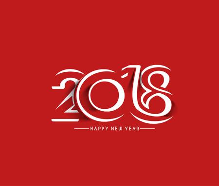 Gelukkig nieuw jaar 2018 Tekstontwerp, Vectorillustratie.
