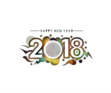 Happy new year 2018 Text Design, Vector illustration. Illustration