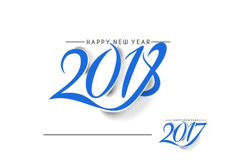 Happy new year 2017 and 2018 Text Design, Vector illustration.
