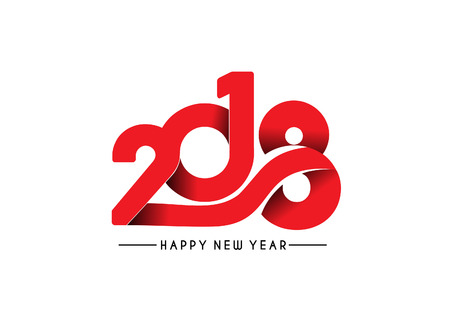 Happy new year 2018 Text Design, Vector illustration. Stock Vector - 89612851