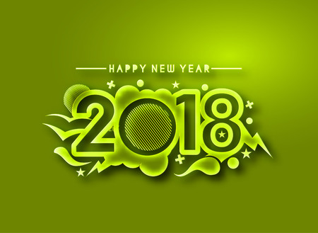 Happy new year 2018 Text Design, Vector illustration. Иллюстрация