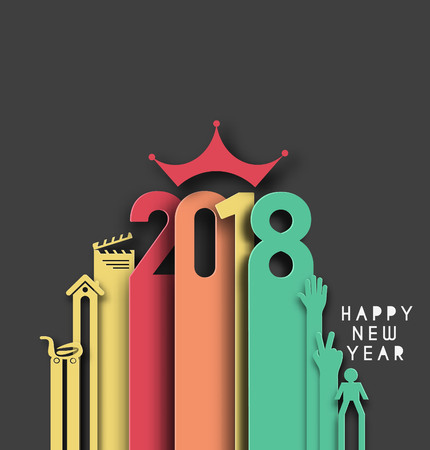 Happy new year 2018 Text Design, Vector illustration. Vectores