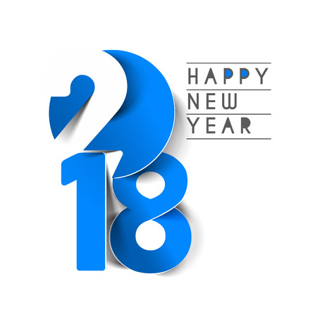 Happy new year 2018 Text Design, Vector illustration. Ilustracja