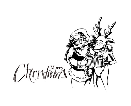 Drunk Santa Claus and reindeer with beer mug in hand, vector illustration.