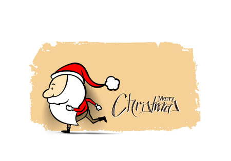 Santa Claus running on a light background, vector illustration.