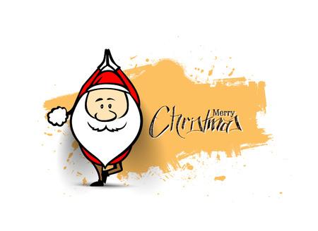Santa Claus doing yoga, Christmas vector illustration.  イラスト・ベクター素材