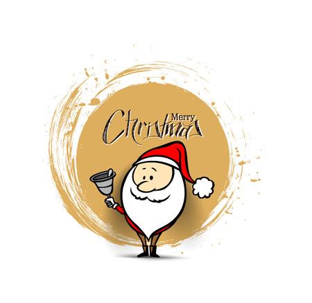 Santa Claus sta suonando il fondo di Natale della campana, illustrazione di vettore. Archivio Fotografico - 90675832